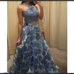 Other - Blue prom dress with a floral long skirt 🌸💕